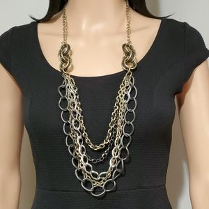 Mixed Metals Layered Chain Necklace